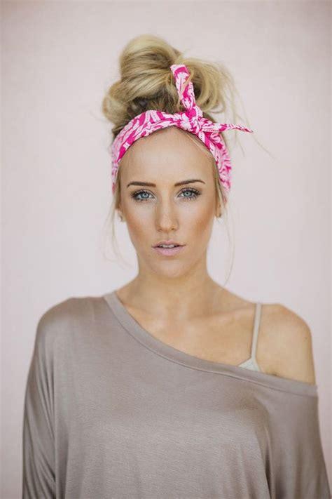 Emily Bandana Chevronana Bows Headband dolly bow pink tie up headscarf headband bandana hair