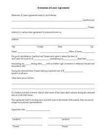 Renewal Lease Agreement Template extension of lease agreement free download