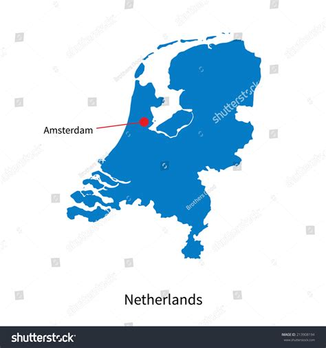 netherlands capital map detailed vector map of netherlands and capital city