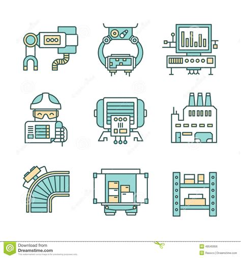 design vs manufacturing manufacturing process icons stock vector image 49545956