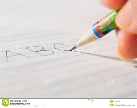 write on paper writing on a paper by a pencil royalty free stock image