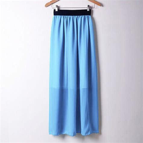 2016 casual summer bohemian style pleated chiffon skirt high waist