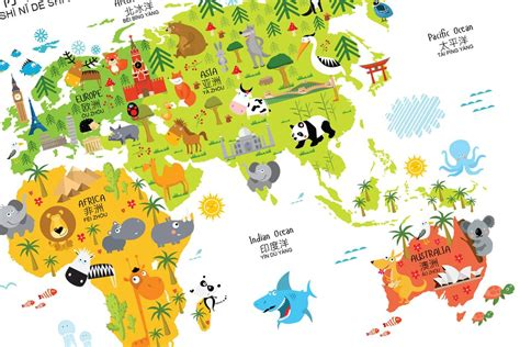 world maps for kids com bilingual world map poster for kids in english chinese