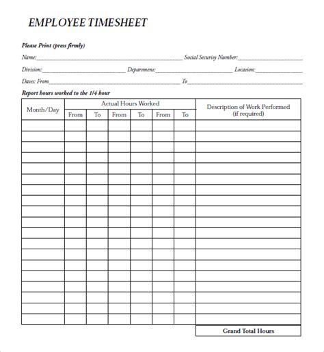 payroll time card template employee clock in sheet