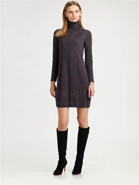 M Missoni Knit Turtleneck Dress In Gray Black Lyst