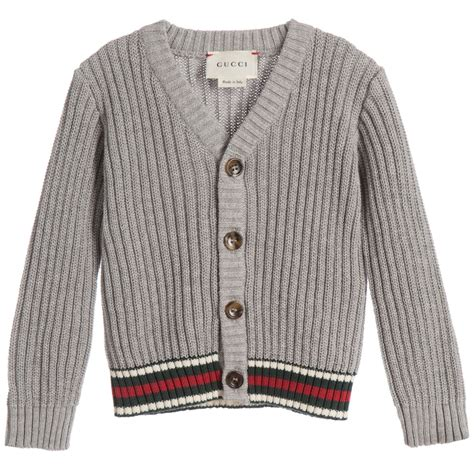 Cardigan Boys gucci baby boys grey ribbed cardigan childrensalon