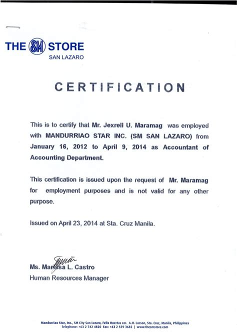 sample of certificate of employment in hotel new sample certificate