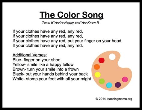 color song lyrics 10 preschool songs about colors
