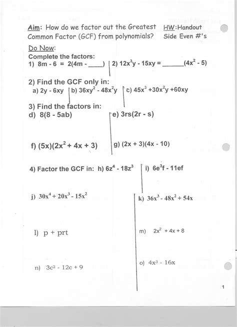 Greatest Common Factor Worksheet Answers by 19 Best Images Of Evaluating Polynomials Worksheet Kuta