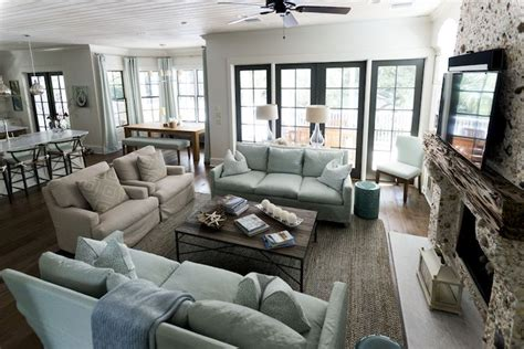 u shaped living room amazing open plan living room features beadboard ceiling accented with ceiling fan u shaped