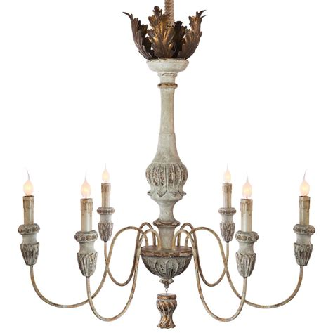 Tutu French Country Weathered White Antique Gold White Antique Chandelier