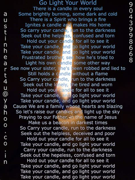 Go Light Your World Lyrics go light your world christian lyrics flickr photo