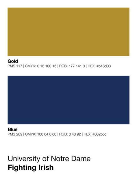 notre dame colors notre dame fighting pantone poster nd by sproutjam