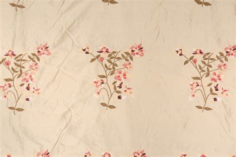 embroidered silk drapery fabric embroidered silk decorator fabric in mimosa pink