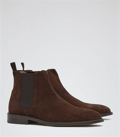 tenor suede brown suede chelsea boots reiss