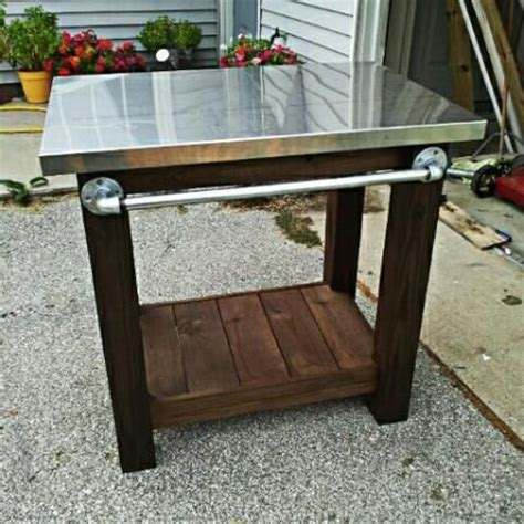 Patio Grill Table Grill Table With Stainless Steel Top Diy The Pipe Handle Backyard Tutorials