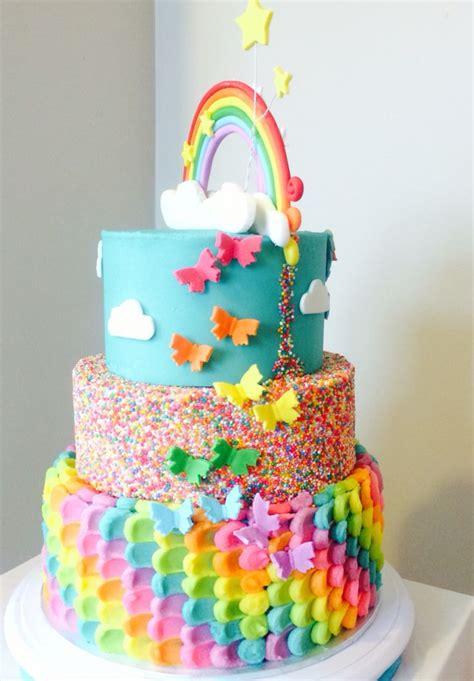 rainbow birthday cakes ideas  pinterest rainbow cakes girls cake ideas