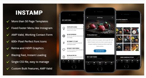 mobile themes themeforest amp insta mobile mobile google amp template by enabled
