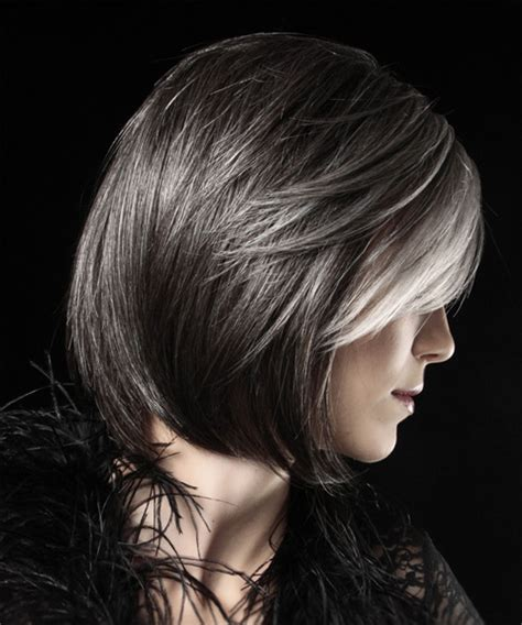 Silver Highlighted Hair Styles | silver highlights on dark hair short hairstyle 2013
