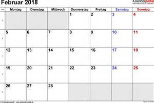 Kalender 2018 Februar Kalender Februar 2018 Als Word Vorlagen