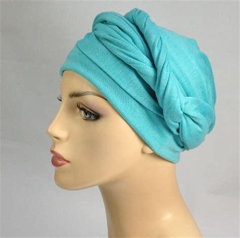 wrap turban chemo scarf aqua jersey