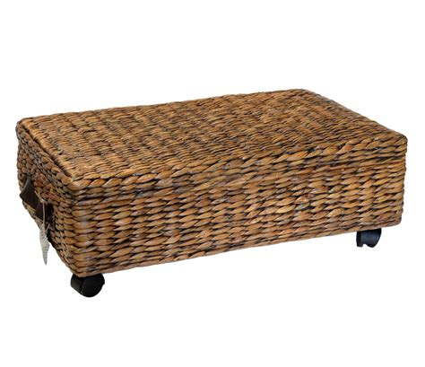 under bed storage baskets oblong water hyacinth wheeled underbed storage basket with
