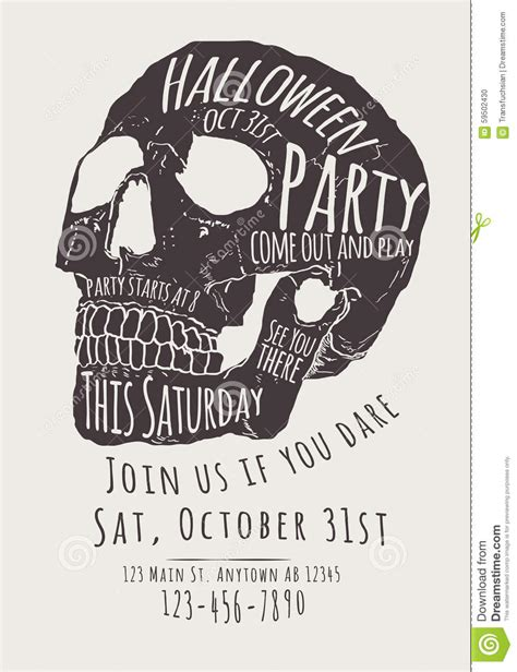 Skull Halloween Party Invitation Flyer Stock Vector Image 59502430 Skull Invitation Templates