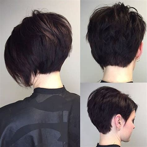 the back if an asymmetrical short curl haircuts i love when someone wants a huge change short