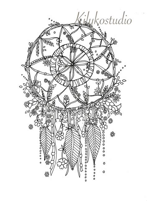 coloring pages for adults dreamcatchers dream catcher botanical wildflower adult coloring page