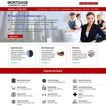 Commercial Mortgage Website Templates Loan Website Templates