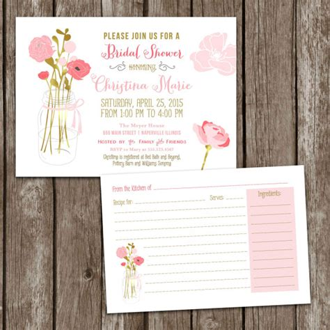 bridal shower recipe invitations sale digital printable jar bridal shower invitations recipe card bridal invite