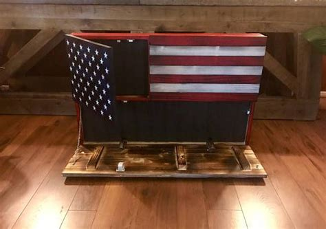 rustic american flag concealed weapon flag cabinet wooden