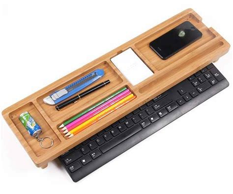 5 shelf desk organizer the bamboo keyboard shelf boasts integrated desk organizer