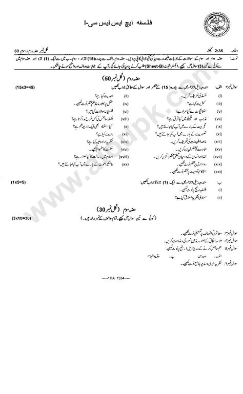 paper pattern 1st year 2015 gujranwala board philosophy past papers federal board fbise for class 11th