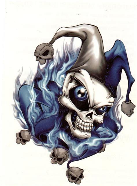 tattoo skull joker extra large temporary tattoo skull joker blue flames 7 x 4