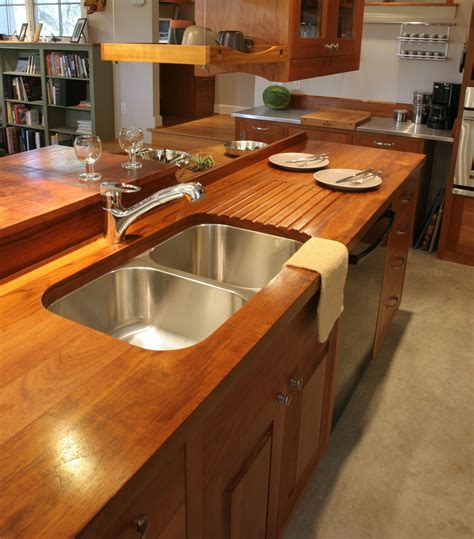 Wood Countertop by Sink Cutouts In Custom Wood Countertops