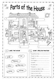 Parts House Printable Exercises | english exercises parts of the house