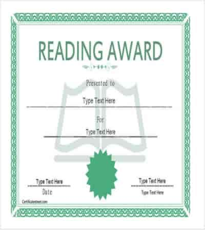 reading certificate template 14 award template free premium templates
