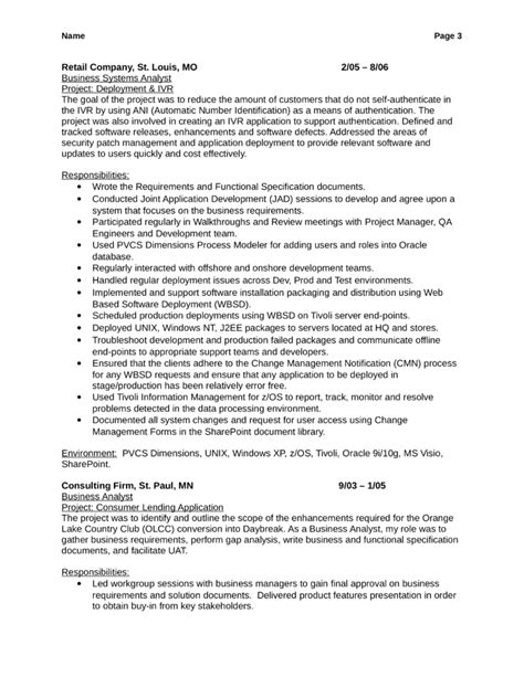 business functional analyst resume