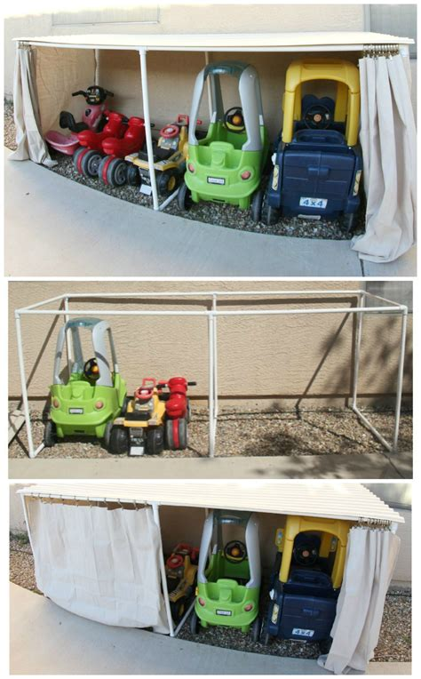 kid toy storage ideas covered kiddie car parking garage outdoor toy