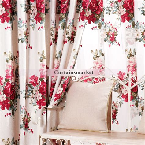 red floral l shades romantic printing red floral print curtains of eco