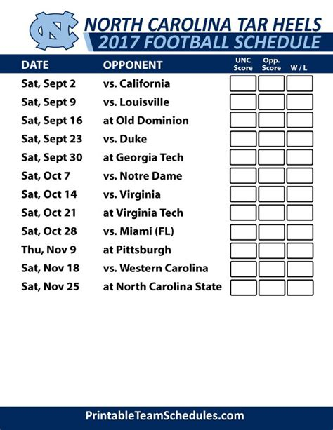 unc printable schedule 15 best acc football college team schedules 2017 images on