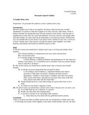Propositional Speech Outline by Persuasive Speech Outline Comm20 Pardoe Persuasive Speech Outline A Family Meal A Day