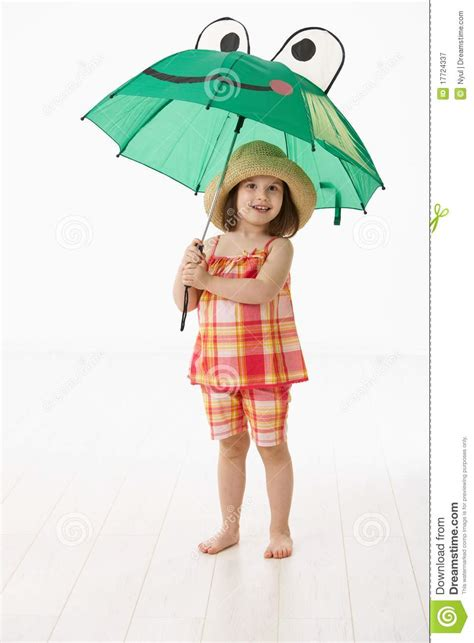 Little House Plans little girl with umbrella royalty free stock photography