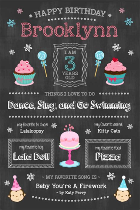 free your choice of little girls 1st birthday chalkboard