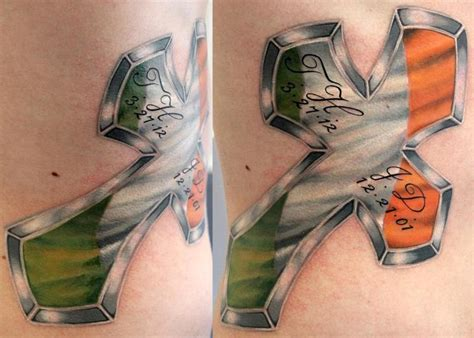 irish flag tattoo flag in cross by talo by rob talo tattoonow
