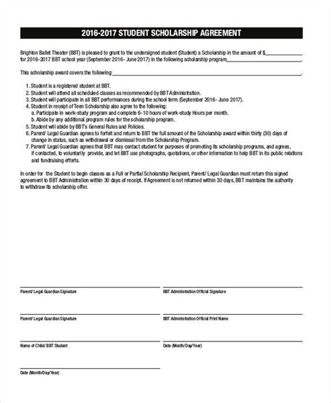 academic contract template 7 scholarship contract sles templates pdf doc