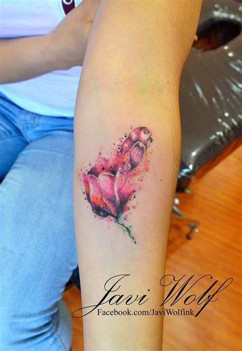 tulip and rose tattoo watercolor tulip tattooed by javi wolf ink