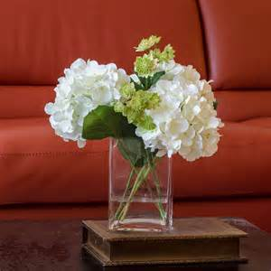 Square Vase Flower Arrangements White Hydrangea Arrangement Silk Flowers Greenery Spray By