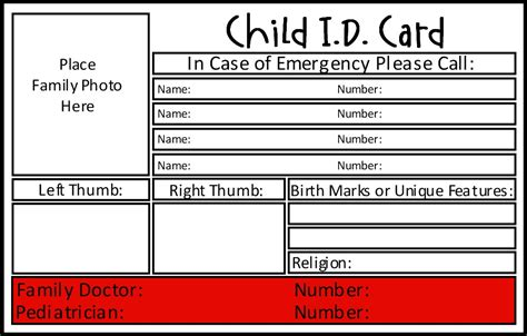 child emergency card template prepared not scared preparedness project family